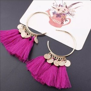Jewelry - Boho Hoop Fringe Earrings Pink and Gold